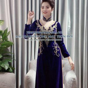 Áo dài đính đá và pha lê sang trọng dành cho hội nghị bà sui, dự tiệc TLDD05