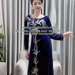 Áo dài đính đá và pha lê sang trọng dành cho hội nghị bà sui, dự tiệc TLDD07