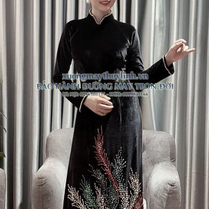 Áo dài đính đá và pha lê sang trọng dành cho hội nghị bà sui, dự tiệc TLDD09