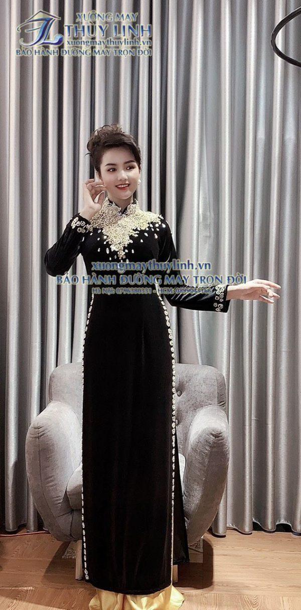 Áo dài đính đá và pha lê sang trọng dành cho hội nghị bà sui, dự tiệc TLDD13