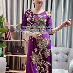 Áo dài đính đá và pha lê sang trọng dành cho hội nghị bà sui, dự tiệc TLDD22