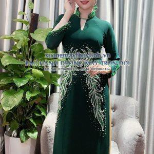 Áo dài đính đá và pha lê sang trọng dành cho hội nghị bà sui, dự tiệc TLDD27