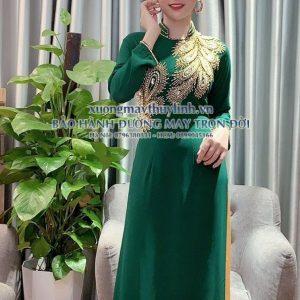 Áo dài đính đá và pha lê sang trọng dành cho hội nghị bà sui, dự tiệc TLDD32