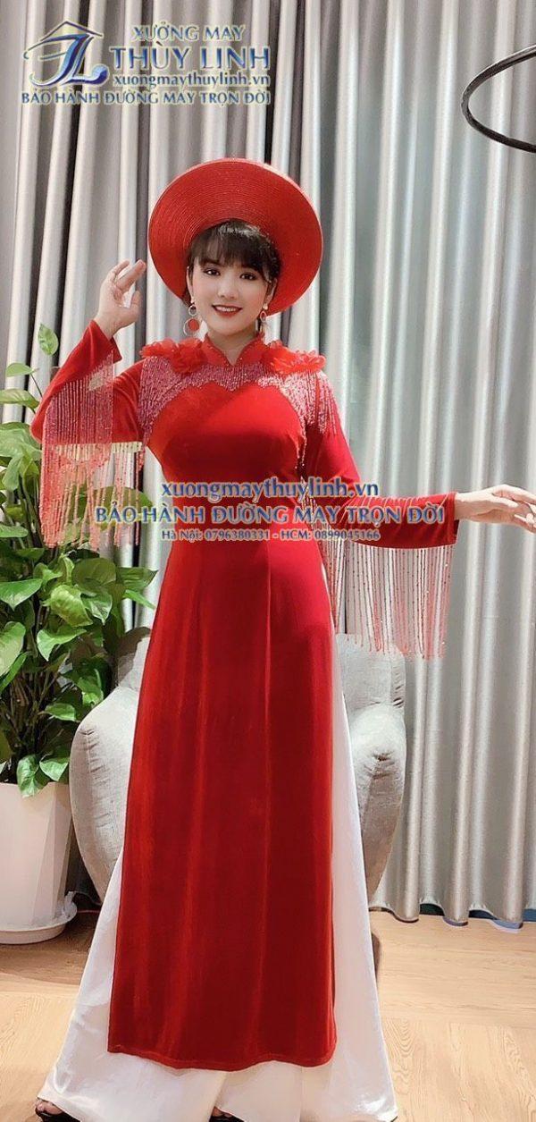Áo dài đính đá và pha lê sang trọng dành cho hội nghị bà sui, dự tiệc TLDD40