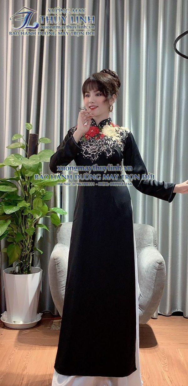Áo dài đính đá và pha lê sang trọng dành cho hội nghị bà sui, dự tiệc TLDD41