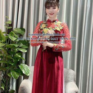 Vải áo dài đính đá sang trọng dành cho hội nghị bà sui, dự tiệc